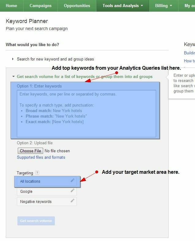 How to use Google AdWords Keyword Planner Search Volume