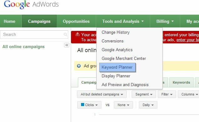 How to use Google AdWords Keyword Planner - Step 2