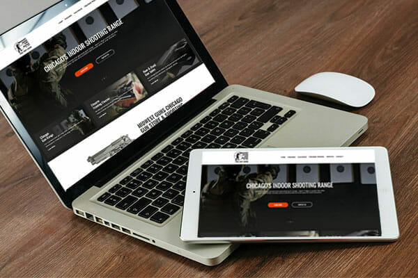 Tablet & computer display of Midwest Guns website