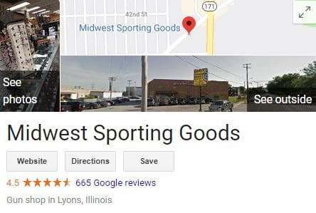 Google maps display for Midwest Sporting Goods
