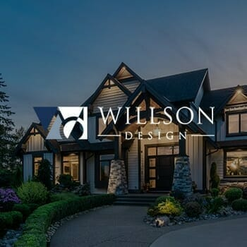 Willson Design logo on top of an image of a house