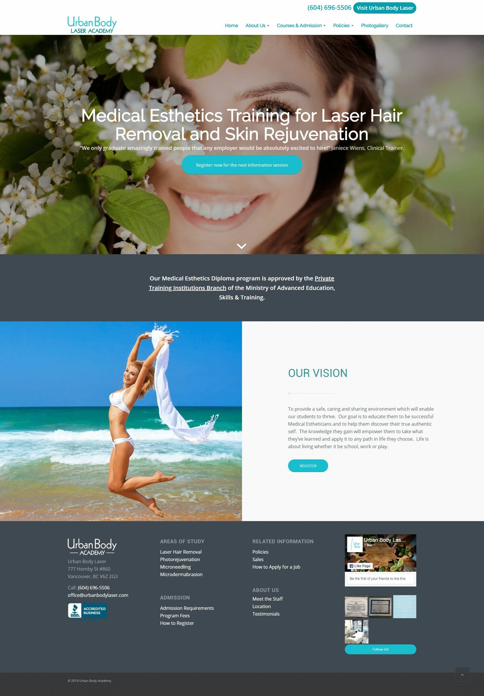 Urban Body Laser Academy HOME page layout