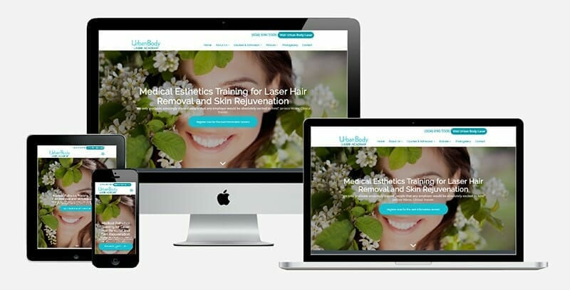 Urban Body Laser Academy website displayed on various electronic devices