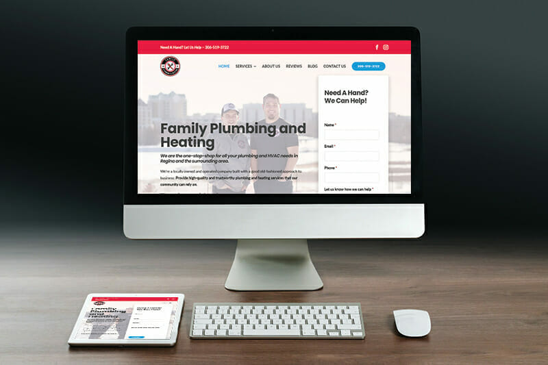 Family Plumbing and Heating website displayed on desktop and tablet