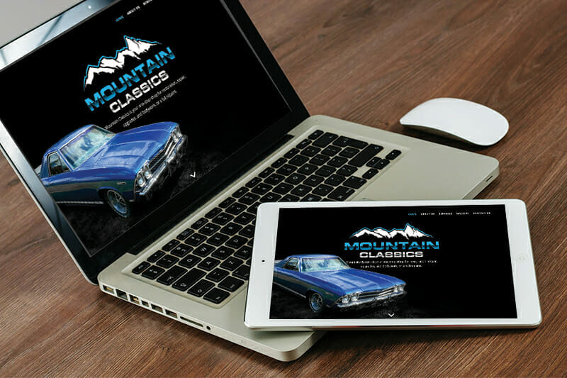 Mountain Classics website displayed on tablet and laptop
