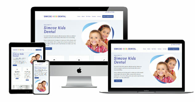 simcoe kids dental clinic web page displayed on multiple devices