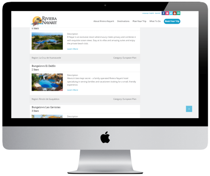Desktop example of Riviera Nayarit landing page with list of hotels.