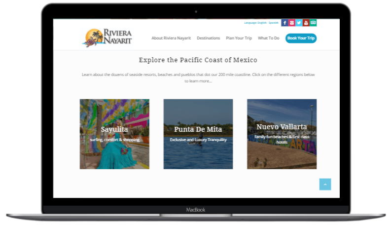 Laptop example of Riviera Nayarit destinations page.