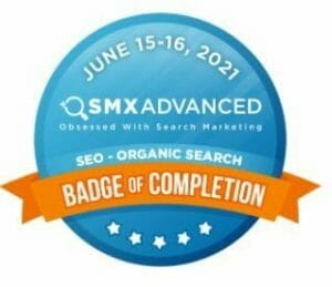 SMX Advanced 2021 Badge of Completion.