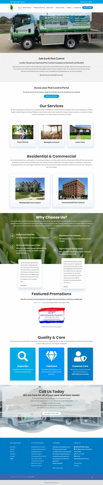Screenshot of the full home page layout for Safe Earth Pest Control.