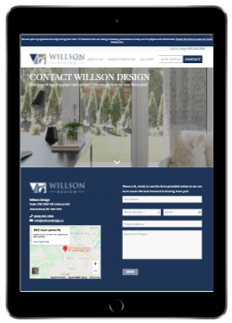 Wilson Design web page displayed on a tablet.